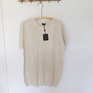 NWT MASSIMO DUTTI| knit shortsleeve beige shirt